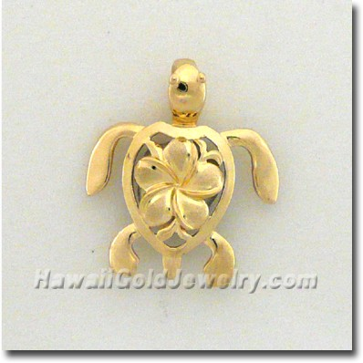 Hawaiian Honu Pendant - Hawaii Gold Jewelry