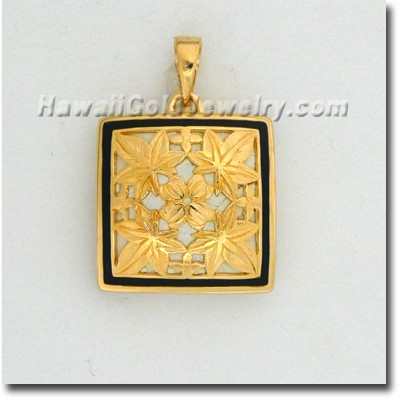 Hawaiian Kukui Quilt Pendant - Hawaii Gold Jewelry