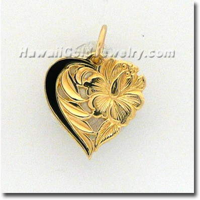 Hawaiian Leialoha Pendant - Hawaii Gold Jewelry