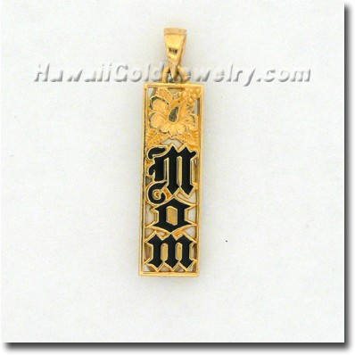 Hawaiian Mom Flat Vertical Pendant - Hawaii Gold Jewelry