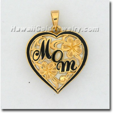 Hawaiian Mom Heart Plumeria Pendant - Hawaii Gold Jewelry