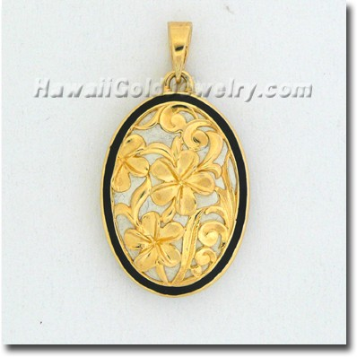 Hawaiian Oval Plumeria Pendant - Hawaii Gold Jewelry