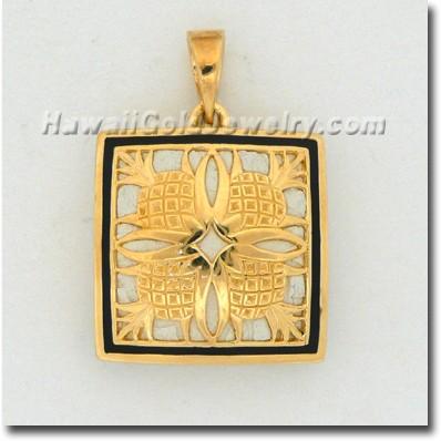 Hawaiian Pineapple Quilt Pendant - Hawaii Gold Jewelry