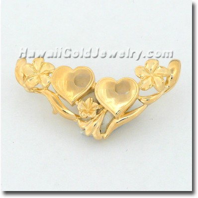Hawaiian Plumeria Slide With Double Heart Initials - Hawaii Gold Jewelry