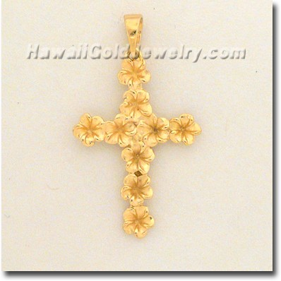 Hawaiian Plumeria  Cross Pendant - Hawaii Gold Jewelry