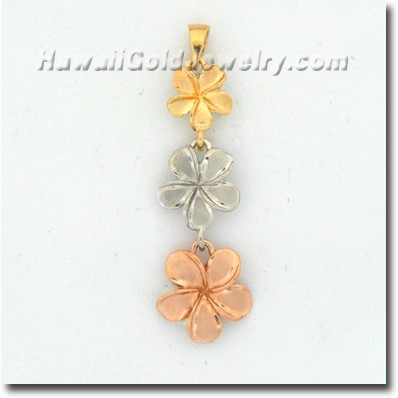 Hawaiian Plumeria #123 Pendant - Hawaii Gold Jewelry