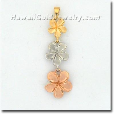 Hawaiian Plumeria #123 Pendant - Hawaii Gold Jewelry