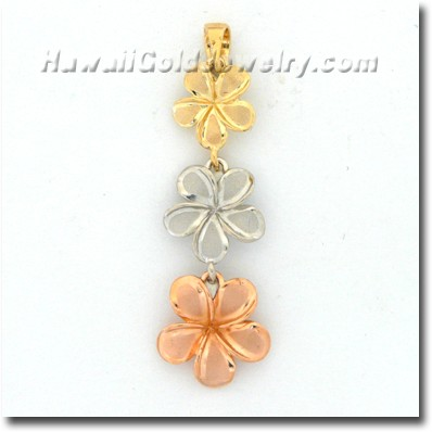 Hawaiian Plumeria #234 Pendant - Hawaii Gold Jewelry