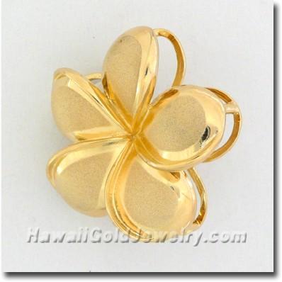 Hawaiian Plumeria Drop Pendant - Hawaii Gold Jewelry