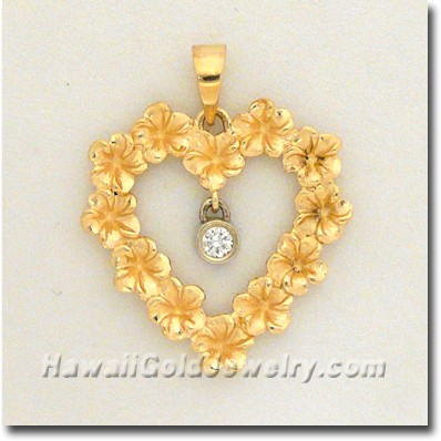 Hawaiian Plumeria Heart Pendant - Hawaii Gold Jewelry