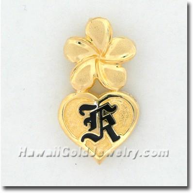 Hawaiian Plumeria Initials Heart Pendant - Hawaii Gold Jewelry