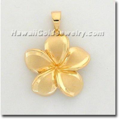 Hawaiian Plumeria Pendant - Hawaii Gold Jewelry