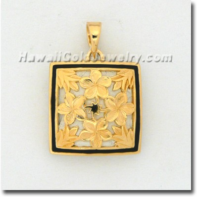 Hawaiian Plumeria Quilt Pendant - Hawaii Gold Jewelry