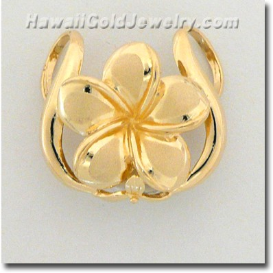Hawaiian Plumeria Slide Pendant - Hawaii Gold Jewelry