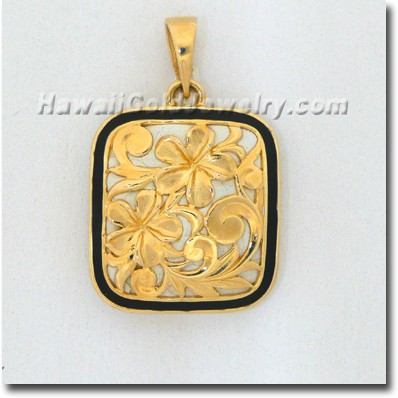 Hawaiian Puanani Plumeria Pendant - Hawaii Gold Jewelry