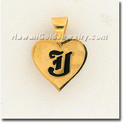 Hawaiian Raised Enamel Pendant Heart - Hawaii Gold Jewelry