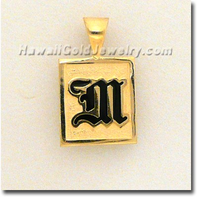 Hawaiian Raised Enamel Pendant Square - Hawaii Gold Jewelry