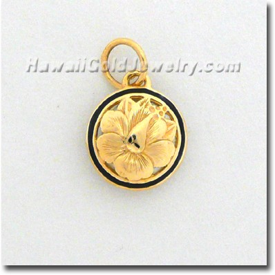 Hawaiian Round Cut Out Pendant - Hawaii Gold Jewelry
