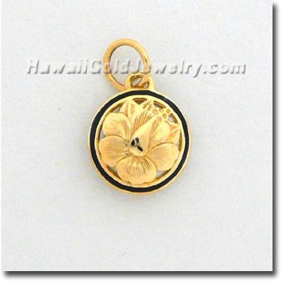 Hawaiian Round Cut Out Pendant - Hawaii Gold Jewelry