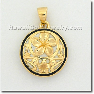Hawaiian Round Plumeria Pendant - Hawaii Gold Jewelry