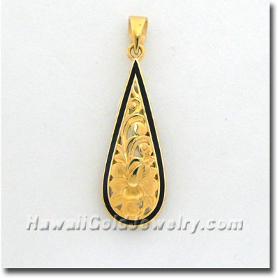 Hawaiian Teardrop Pendant - Hawaii Gold Jewelry