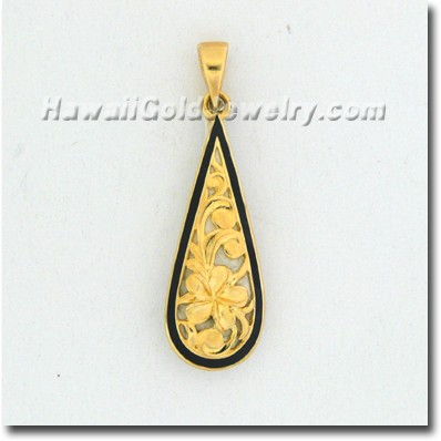Hawaiian Teardrop Plumeria Pendant - Hawaii Gold Jewelry