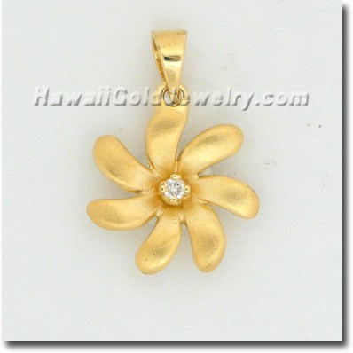 Hawaiian Tiare Pendant - Hawaii Gold Jewelry