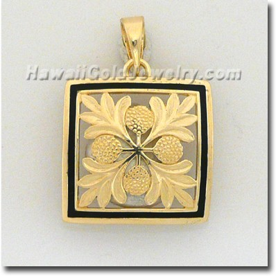 Hawaiian Ulu Quilt Pendant - Hawaii Gold Jewelry