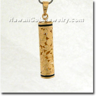 Hawaiian Vertical Floater Pendant - Hawaii Gold Jewelry