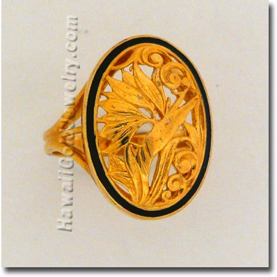 Hawaiian Bird of Paradise Ring - Hawaii Gold Jewelry
