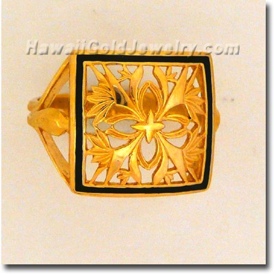 Hawaiian Bird of Paradise Quilt Ring - Hawaii Gold Jewelry