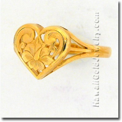 Hawaiian Cut-Out Heart Ring - Hawaii Gold Jewelry