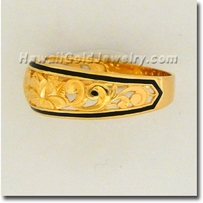 Hawaiian Dome Cut-Out Tapered Ring - Hawaii Gold Jewelry