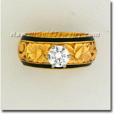 Dome Ring Design Hibiscus Flower With Hawaiian Scroll Metal 14K Yellow