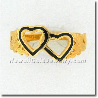 Hawaiian Double Heart Ring - Hawaii Gold Jewelry