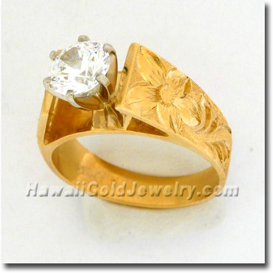 Hawaiian French Mount Ring - Hawaii Gold Jewelry