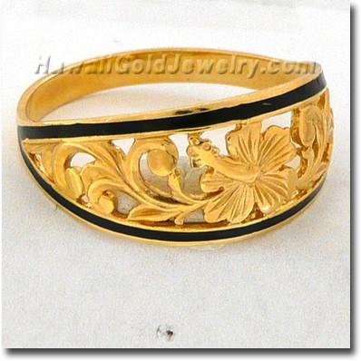 Hawaiian Hibiscus Hoop Ring - Hawaii Gold Jewelry