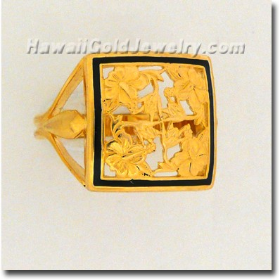 Hawaiian Hibiscus Quilt Ring - Hawaii Gold Jewelry