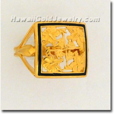 Hawaiian Hibiscus Quilt Ring - Hawaii Gold Jewelry