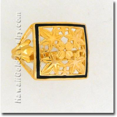 Hawaiian Kukui Quilt Ring - Hawaii Gold Jewelry