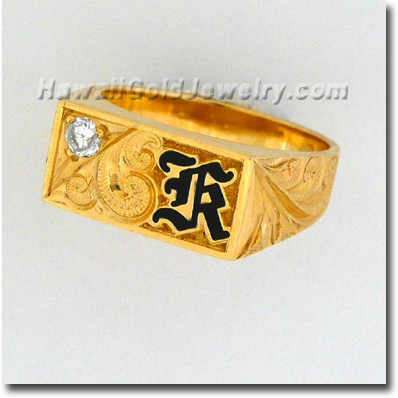 Hawaiian Mens Rectangle Ring - Hawaii Gold Jewelry