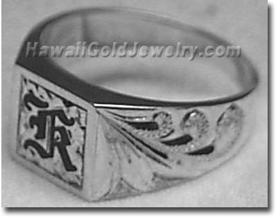 Hawaiian Mens Square Ring - Hawaii Gold Jewelry