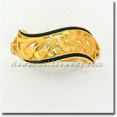 Hawaiian Napua Cut-Out Ring - Hawaii Gold Jewelry