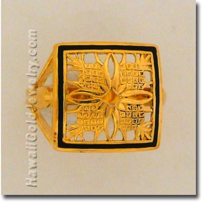 Hawaiian Pineapple Quilt Ring - Hawaii Gold Jewelry
