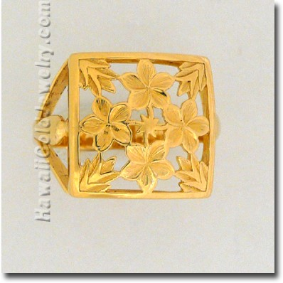 Hawaiian Plumeria Quilt Ring - Hawaii Gold Jewelry