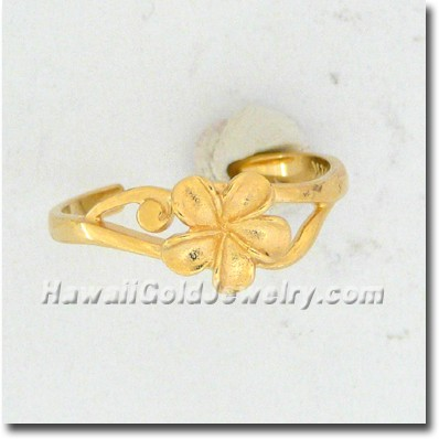 Hawaiian Plumeria Toe Ring - Hawaii Gold Jewelry