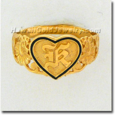 Hawaiian Raised Heart Ring - Hawaii Gold Jewelry