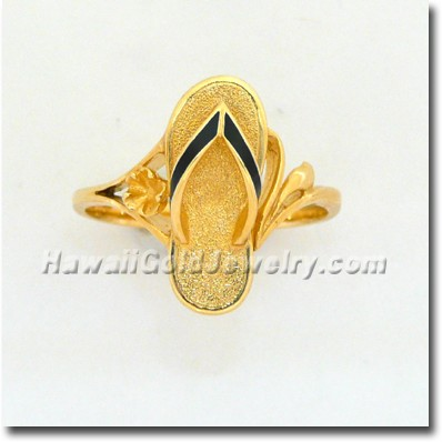 Hawaiian Slipper Ring - Hawaii Gold Jewelry