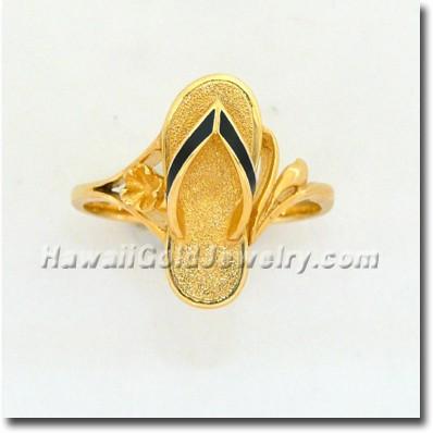 Hawaiian Slipper Ring - Hawaii Gold Jewelry