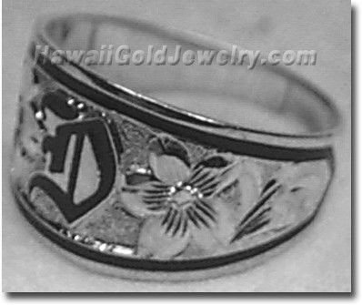 Hawaiian Tapered Ring Raised - Hawaii Gold Jewelry